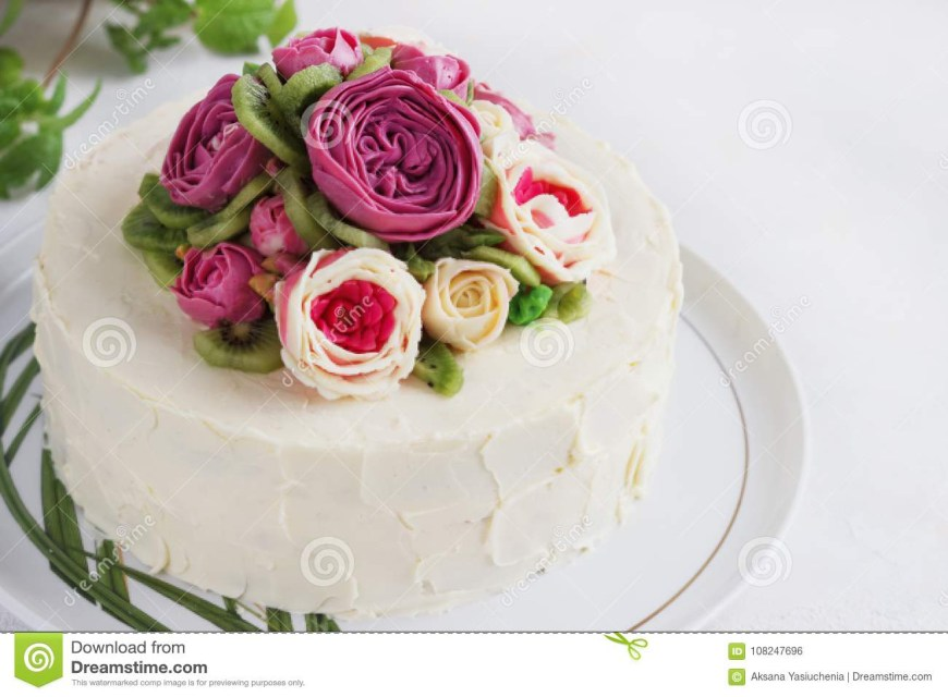Birthday Cakes With Flowers Birthday Cake With Flowers Rose On White Background Stock Photo