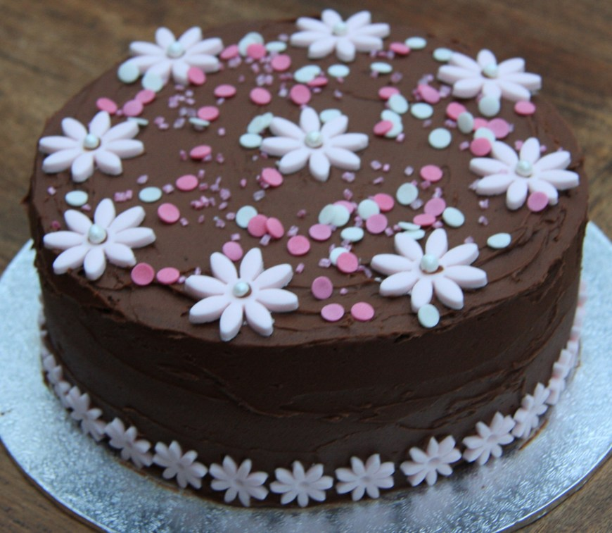 Birthday Cakes With Flowers Chocolate And Pink Flower Birthday Cake Lovinghomemade