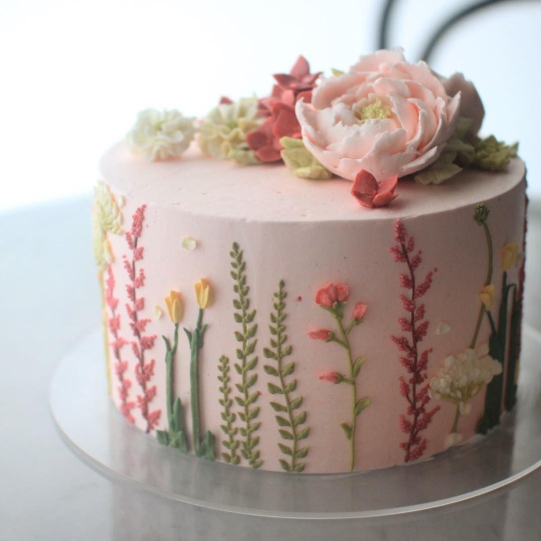 21 Wonderful Photo Of Birthday Cakes With Flowers