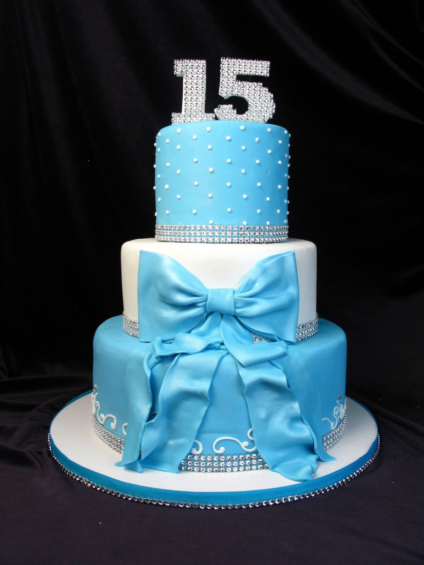 Bling Birthday Cakes Quinceanera Cake 15th Birthday Blue Tiffany Blue Bow Ribbon