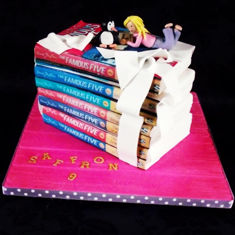 Book Birthday Cake Stack Of Famous Five Books Birthday Cake Cakecentral