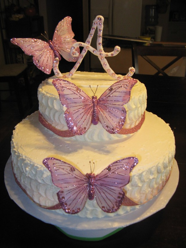 Butterfly Birthday Cakes Pink And White Butterfly Birthday Cake Cakecentral