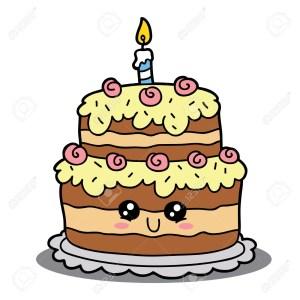 Cartoon Birthday Cake Vector Illustration Of Cute Cartoon Birthday Cake Character For