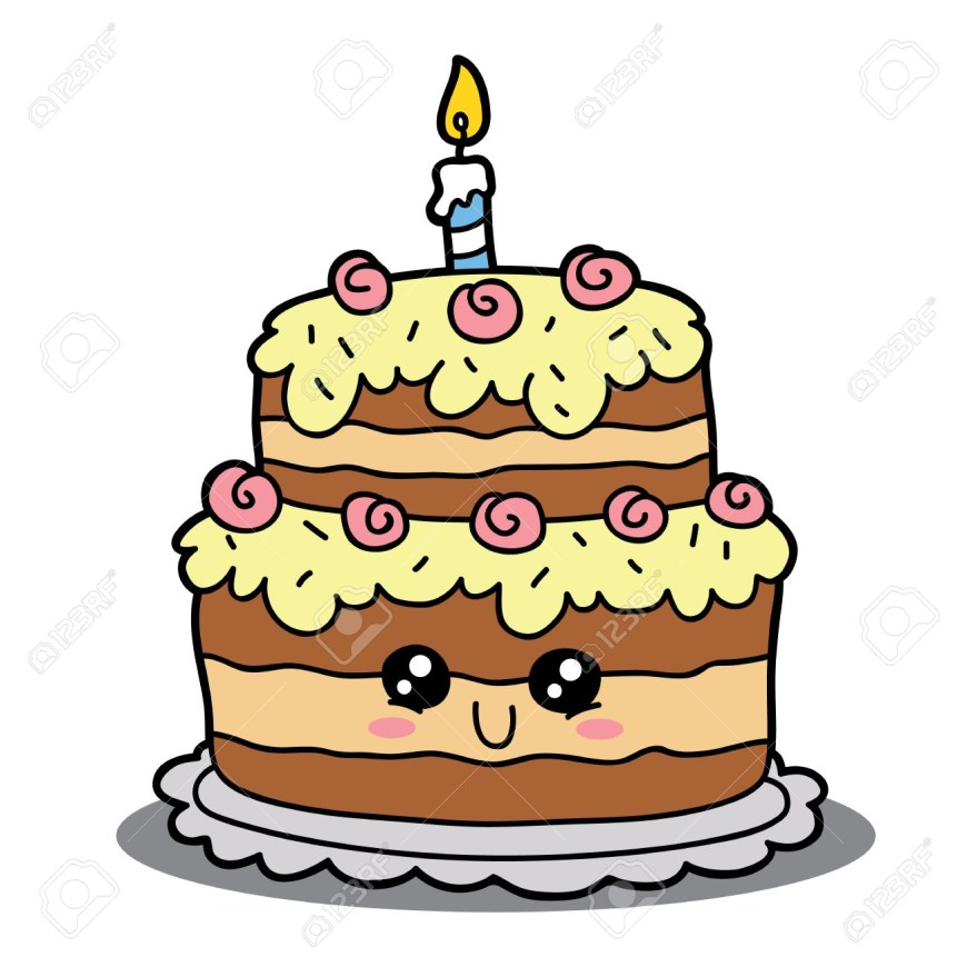 Cartoon Birthday Cake Vector Illustration Of Cute Cartoon Birthday Cake Character For