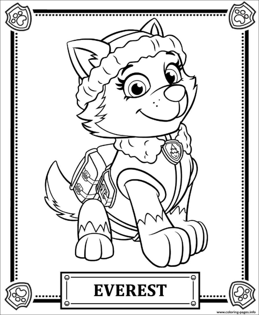 Chase Coloring Page Ausmalbilder Paw Patrol Chase Bild Print Paw Patrol Everest Coloring