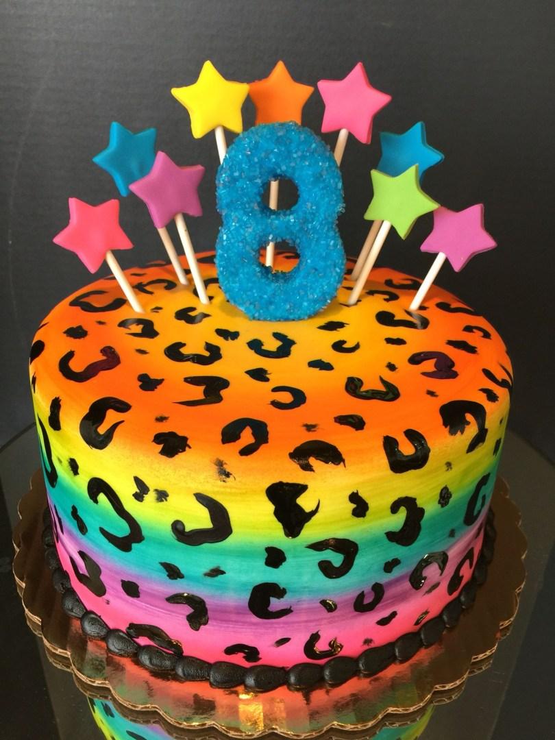 Cheetah Birthday Cake Rainbow Cheetah Cake Frostedflourlodica Cakes Pinterest