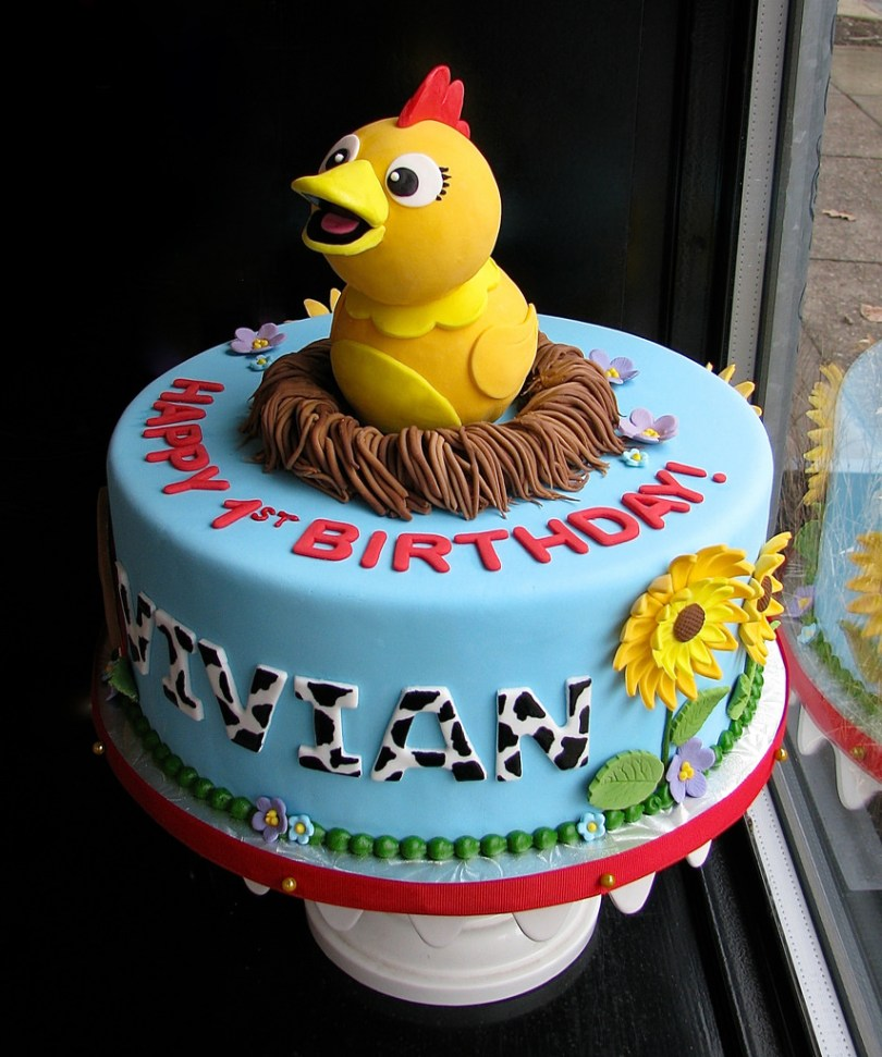 Chicken Birthday Cake Chica The Chicken First Birthday Cake Featuring Chica From Flickr