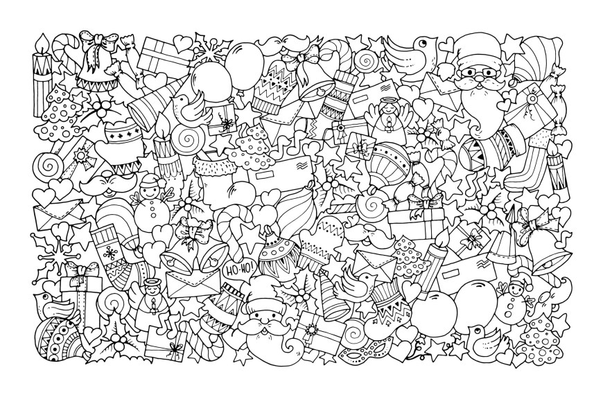 Christmas Coloring Pages Christmas Doodle With Santa Claus Christmas Adult Coloring Pages
