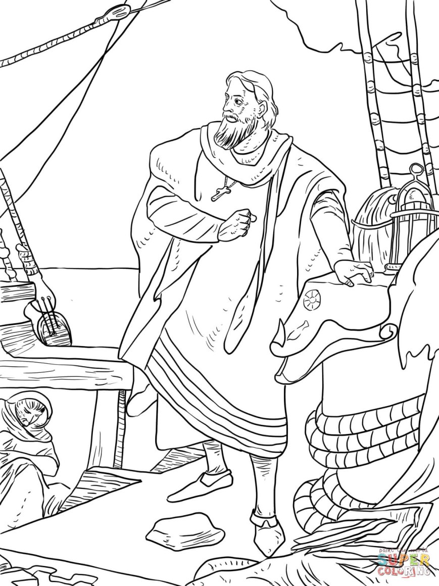 Christopher Columbus Coloring Page Christopher Columbus On The Santa Maria Coloring Page Free