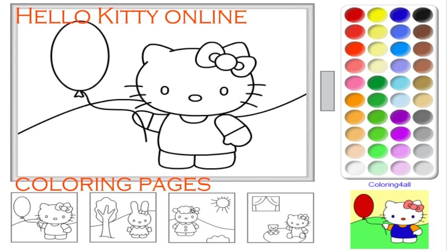 Color Pages Online Hello Kitty Online Coloring Pages Game For Kids Kitty Coloring