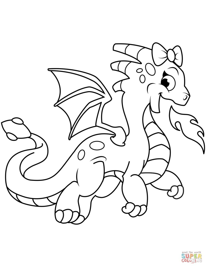 Coloring Pages Dragons Cute Dragon Breathing Fire Coloring Page Free Pages Dragons