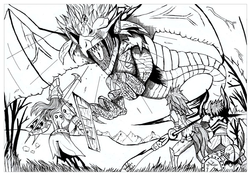 Coloring Pages Dragons Dragon Hunter Dragons Adult Coloring Pages