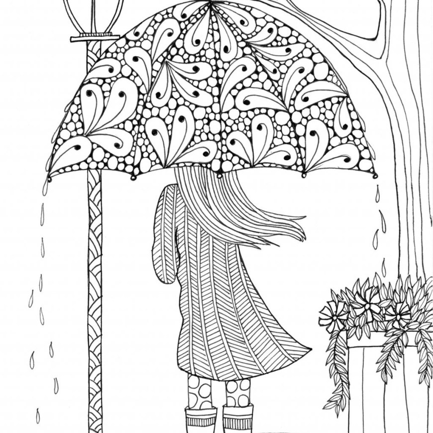 Coloring Pages For Adults Printable Coloring Page Adult Coloring Art Umbrellagirl Page Free Printable