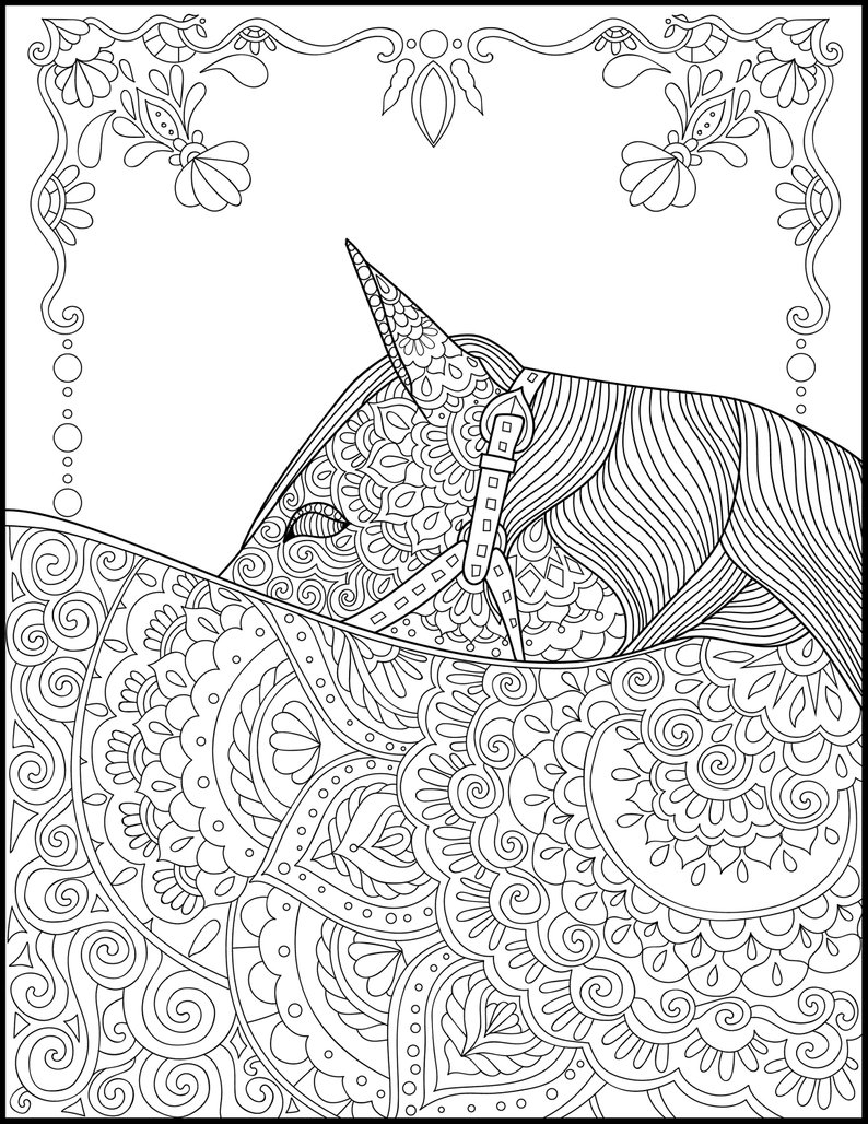 Coloring Pages For Adults Printable Printable Coloring Page Adult Coloring Pages Horse Etsy