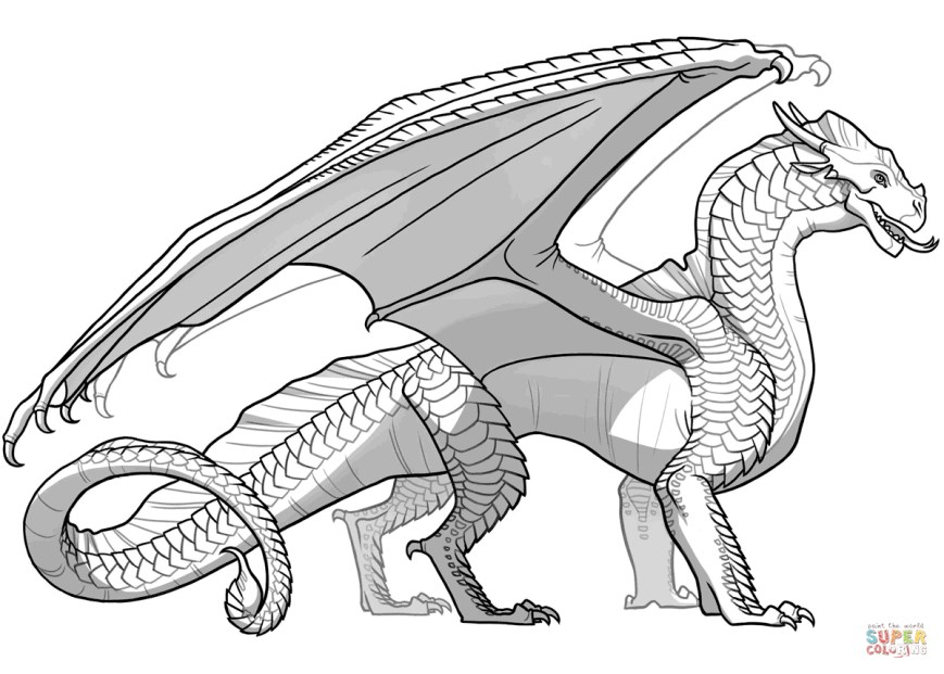 Coloring Pages Of Dragons Wings Of Fire Sandwing Dragon Coloring Page Free Printable