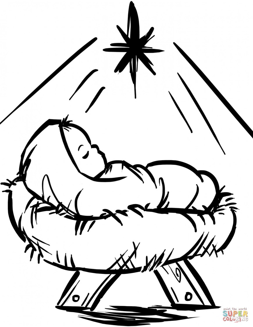 Coloring Pages Of Jesus Ba Jesus Manger Scene Coloring Page Free Printable Coloring Pages