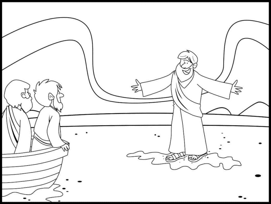 Coloring Pages Of Jesus Jesus Walks On Water Coloring Page Ministry To Children