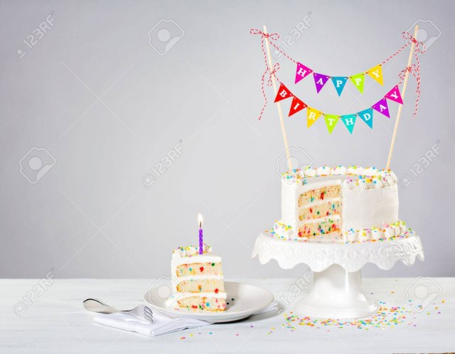 Confetti Birthday Cake Confetti Buttercream Birthday Cake With Colorful Bunting And Stock