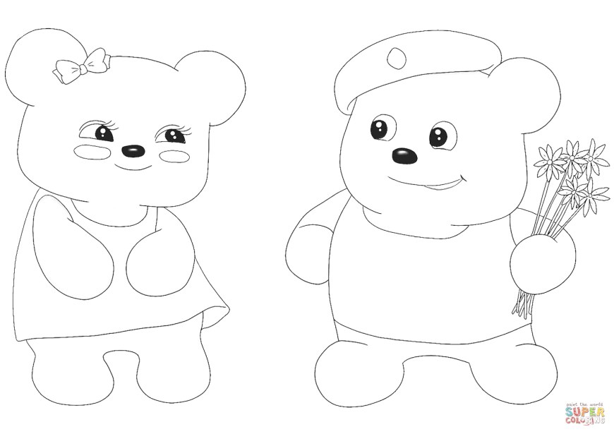 Couple Coloring Pages Cute Bear Couple Coloring Page Free Printable Coloring Pages