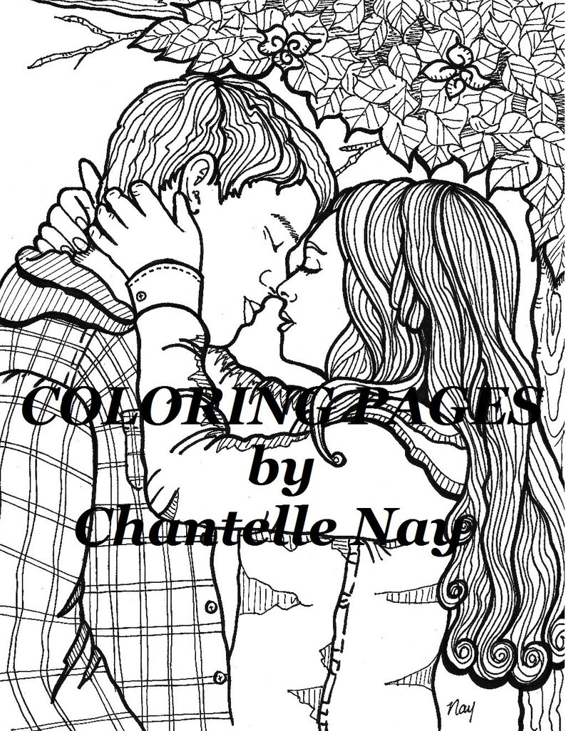 Couple Coloring Pages Cute Couple Coloring Page Adult Coloring Picture Digital Etsy