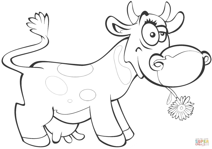 Cow Coloring Page Cartoon Cow Coloring Page Free Printable Coloring Pages