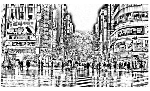Difficult Coloring Pages Tokyo In The Rain Japan Adult Coloring Pages