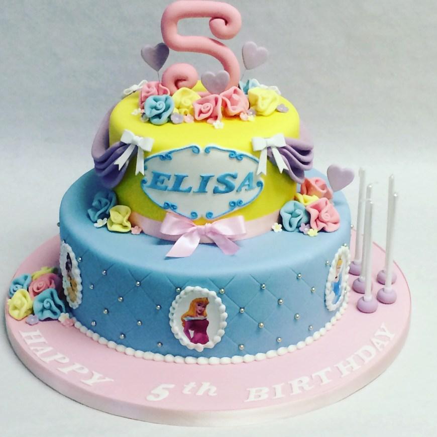 Disney Birthday Cake 2 Tier Disney Princess Cake Childrens Birthday Cakes