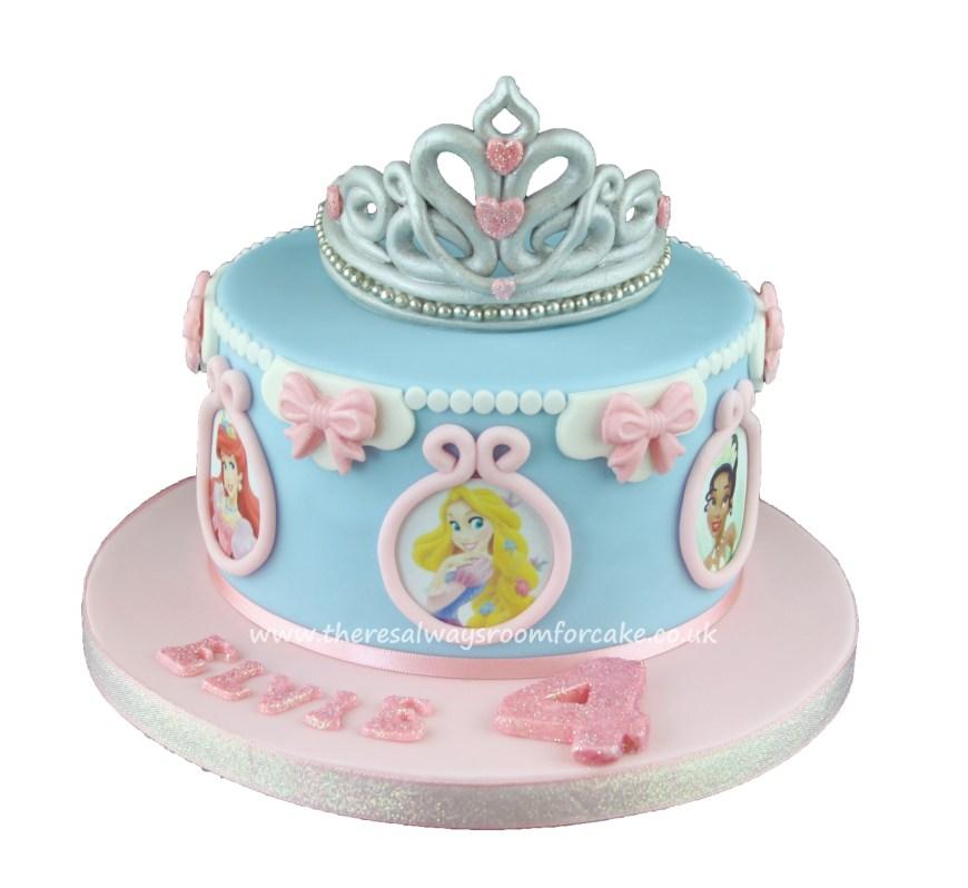 Disney Birthday Cake Disney Princess Birthday Cake With Tiara Topper Party Time