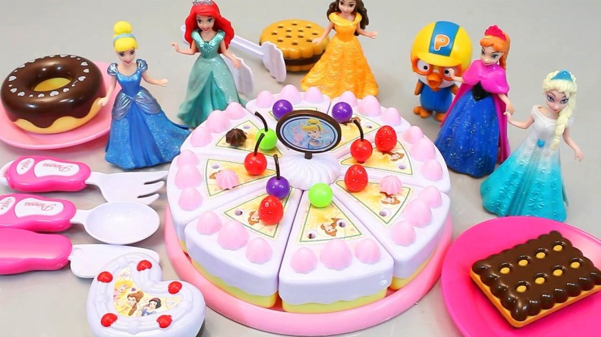 Disney Birthday Cake Toy Velcro Cutting Birthday Cake Disney Princess Pororo Play Doh Toy