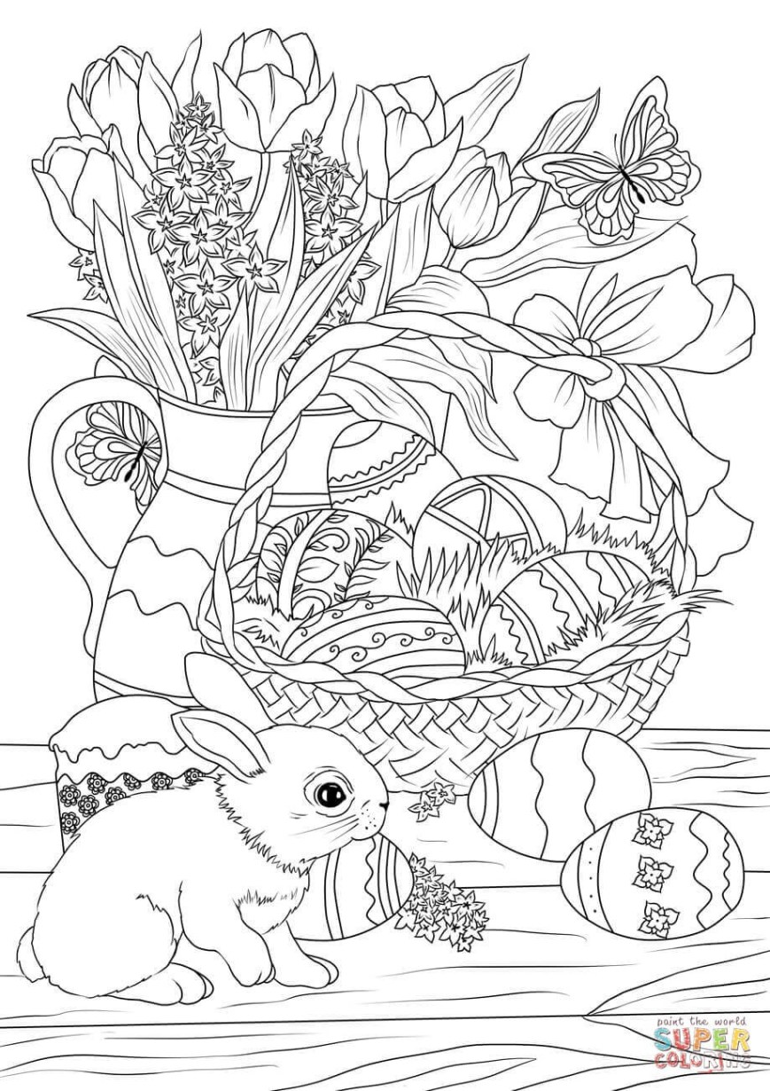 Easter Basket Coloring Pages Easter Basket Decorated With Eggs Flowers Bunny And Pastry Coloring