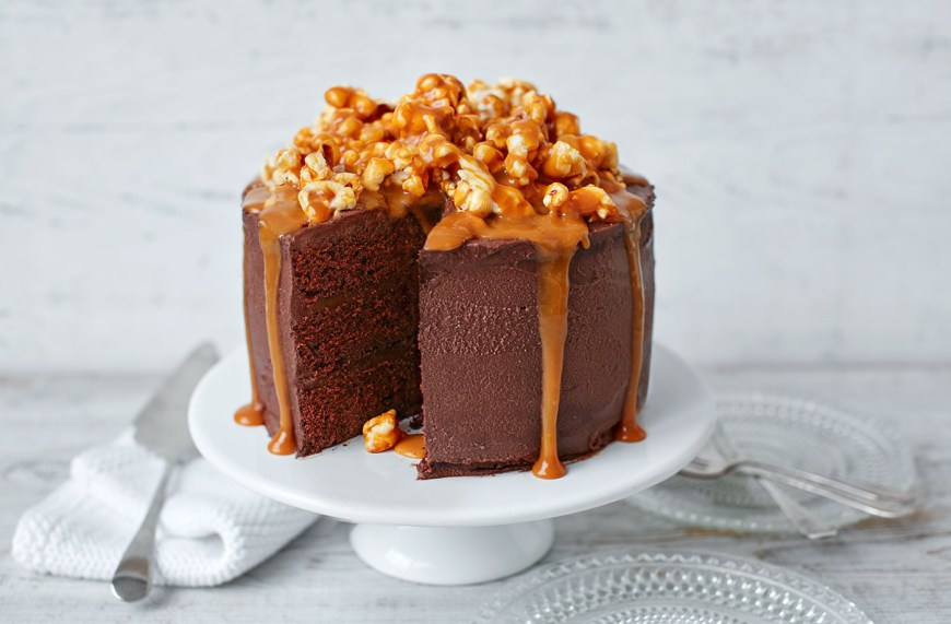 Easy Birthday Cake Recipes Chocolate Popcorn And Salted Caramel Cake Tesco Real Food
