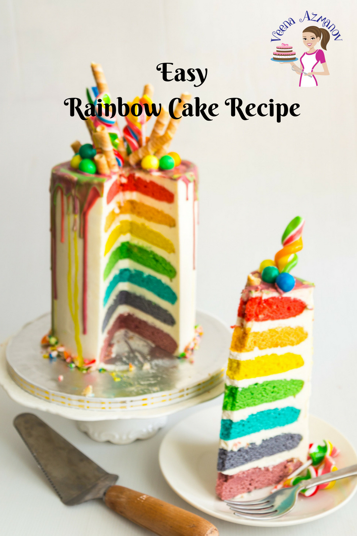 Easy Birthday Cake Recipes Easy Rainbow Cake Recipe Seven Rainbow Layer Cake Veena Azmanov