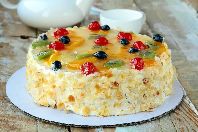 Easy Birthday Cake Recipes French Gteaux Recipe Layered Fruit And Cream Cake Archanas