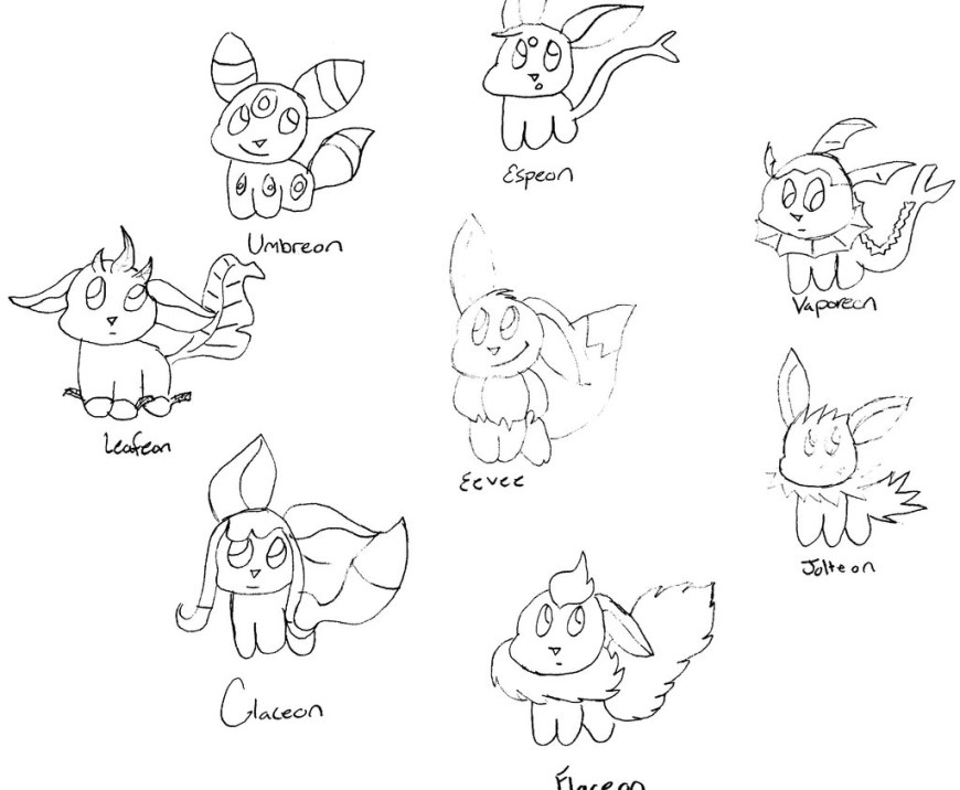 Eevee Evolutions Coloring Pages Eevee Evolution Coloring Pages At Getdrawings Free For
