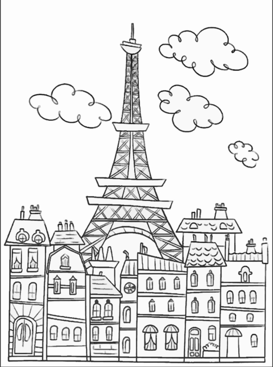 Eiffel Tower Coloring Page Paris Buildings And Eiffel Tower Paris Adult Coloring Pages