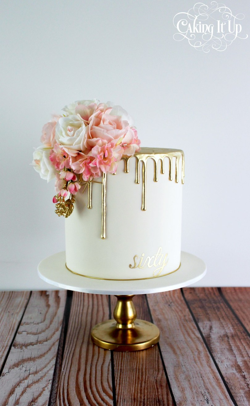 Elegant Birthday Cake Images Classy And Elegant Golden Drizzle 60th Birthday Cake With A Pretty