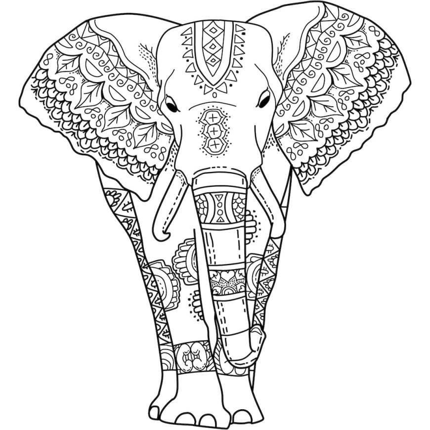 Elephant Coloring Pages Mystical Elephant Coloring Page