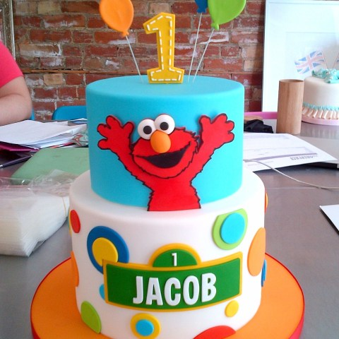 Elmo Birthday Cake Elmo Surprise Birthday Cake Balloons Sesamestreet Blue Red