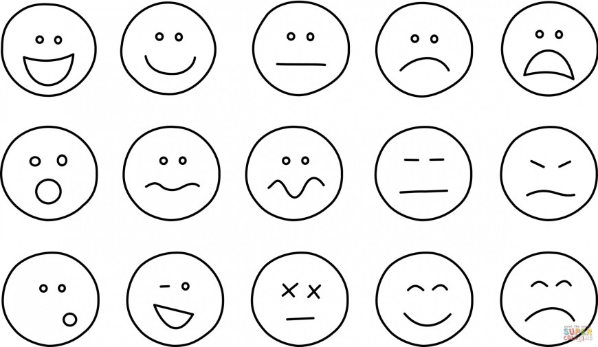 Emotions Coloring Pages Feelings Coloring Pages Emoticons Collection Set Feelings Coloring
