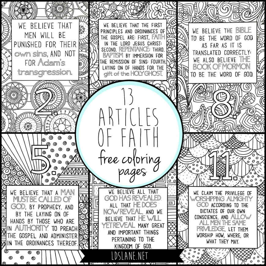 Faith Coloring Pages 13 Articles Of Faith Coloring Pages