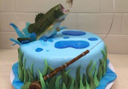 Fish Birthday Cakes Fly Fishing Cake For My Hub Bass Jumping Out Of Water Bass