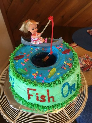 Fish Birthday Cakes Girl Fishing Cake Fishing Party Theme Camp Out Birthday Party In