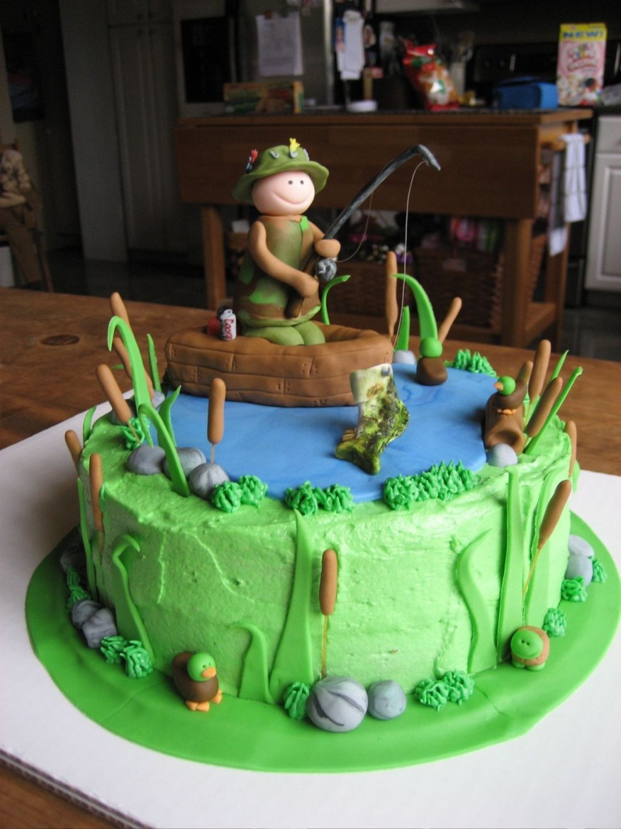 Fishing Birthday Cake Fishing Birthday Cake 9 Round Cake With Buttercream Icing