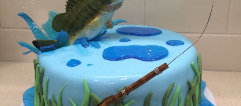 Fishing Birthday Cake Fly Fishing Cake For My Hub Bass Jumping Out Of Water Bass