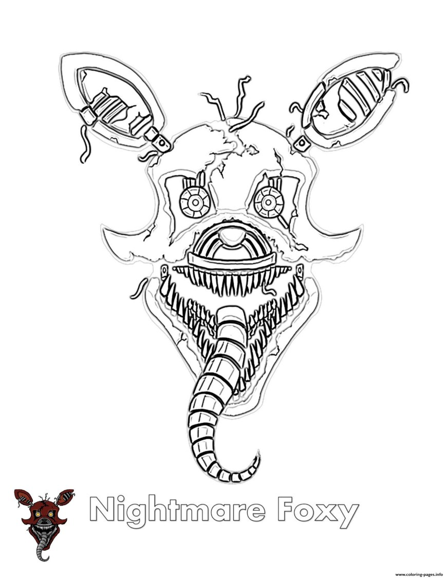 Fnaf Coloring Pages Nightmare Foxy Fnaf Coloring Pages Printable