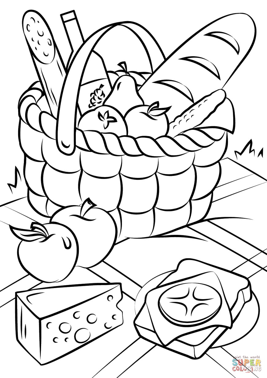 Food Coloring Pages Picnic Basket Food Coloring Page Free Printable Coloring Pages
