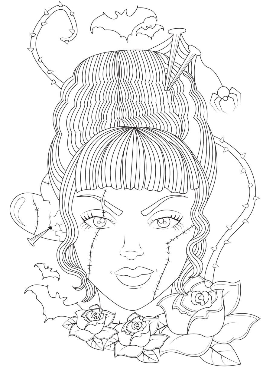 Frankenstein Coloring Pages Bride Of Frankenstein Halloween Adult Coloring Pages