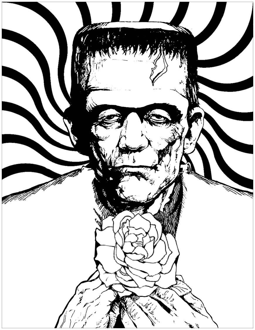 Frankenstein Coloring Pages Frankenstein And Rose Halloween Adult Coloring Pages