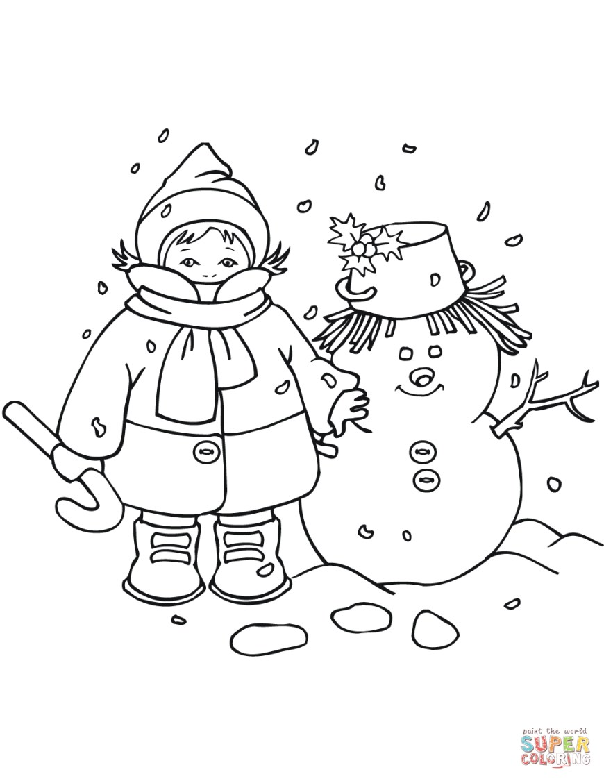 Frosty The Snowman Coloring Pages Kid With Snowman Coloring Page Pages Free Tingameday