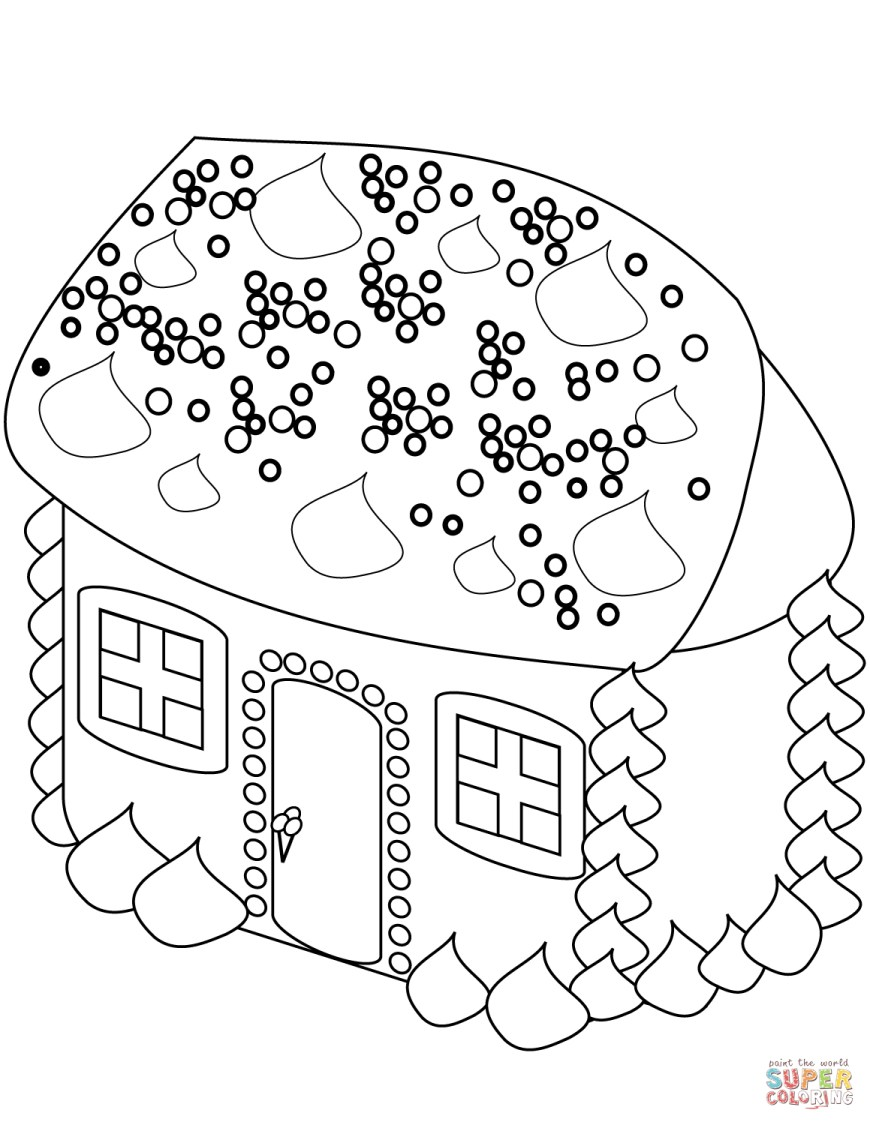 Gingerbread House Coloring Pages Gingerbread House Coloring Page Free Printable Coloring Pages